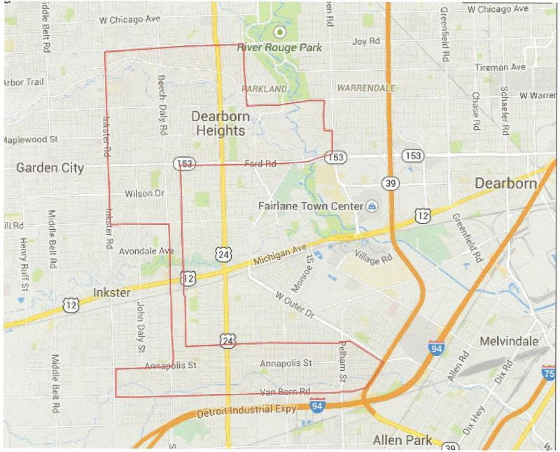 Dearborn Heights city boundaries